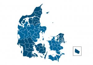 Kort over kommuner i Danmark - kommunalvalg og regionsvælg